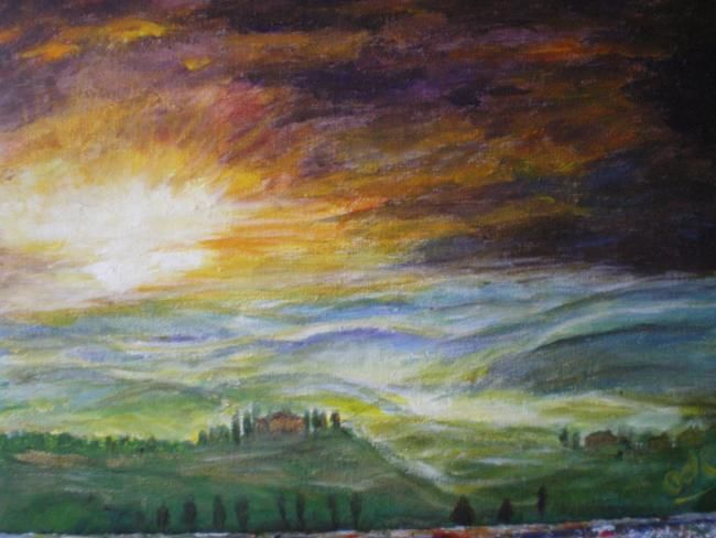 Toscane - Painting,  15.8x19.7 in, ©2011 by Ode -