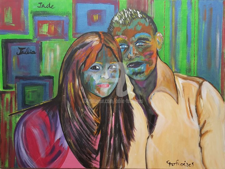 Et lise et matt - Painting,  23.6x31.5 in, ©2019 by Odile Tachoires -                                                                                                              Family, enfants