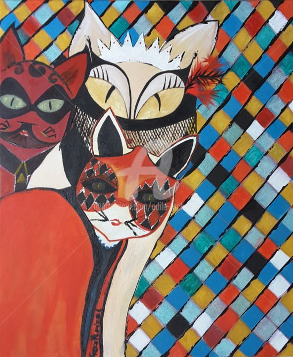 Venise. .....original - Painting,  21.7x18.1x0.8 in, ©2019 by Odile Tachoires -                                                                                                                                                                                                                                                                                                                  Expressionism, expressionism-591, Cats, Colors, Heroic-Fantasy, chats