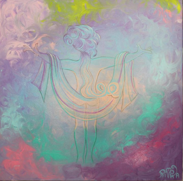 My melodic soul - Painting,  31.5x31.5x1.6 in, ©2017 by Rivka -                                                                                                                                                                                                                                                                                                                                                                                                                                                                                                                                                                                                                                      Symbolism, symbolism-1020, Spirituality, soul, âme, sylhouette féminine, nue, couleurs pastelle, bleu, rose, violet, turquoise, toile3D