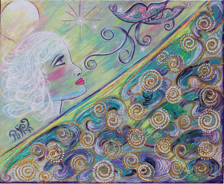 Transmutation - Painting,  23.6x28.7x0.8 in, ©2018 by Rivka -                                                                                                                                                                                                                                                                                                                  Symbolism, symbolism-1020, Spirituality, transmutation, energie, vibration