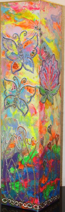 Somewhere in between - Painting,  35x11.8x7.9 in, ©2020 by Rivka -                                                                                                                                                                                                                                                                                                                                                                                                                                                                                                  Symbolism, symbolism-1020, Spirituality, fleur de lotus, papillon, butterfly, boudha, peinture intuitive, peinture de l'âme, eveil spirituel