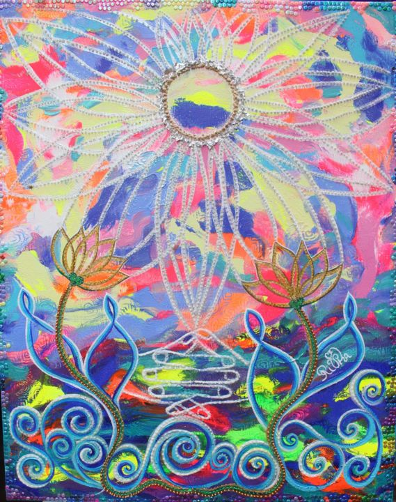 The eternel flames walking with the sunshine - Painting,  31.9x25.6x0.8 in, ©2020 by Rivka -                                                                                                                                                                                                                                                                                                                                                                                                                                                      Symbolism, symbolism-1020, Spirituality, soleil, sunshine, fleur de vie, flowers of life, peinture intuitive de l'âme, canal des êtres de lumiere