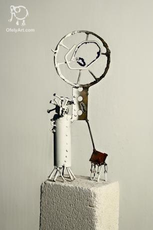 Sculpture ©2012 by Vilgeniy Melnikov -  Sculpture, Metals, Metal skulpture of woman with a dog ( metal / blue sand)