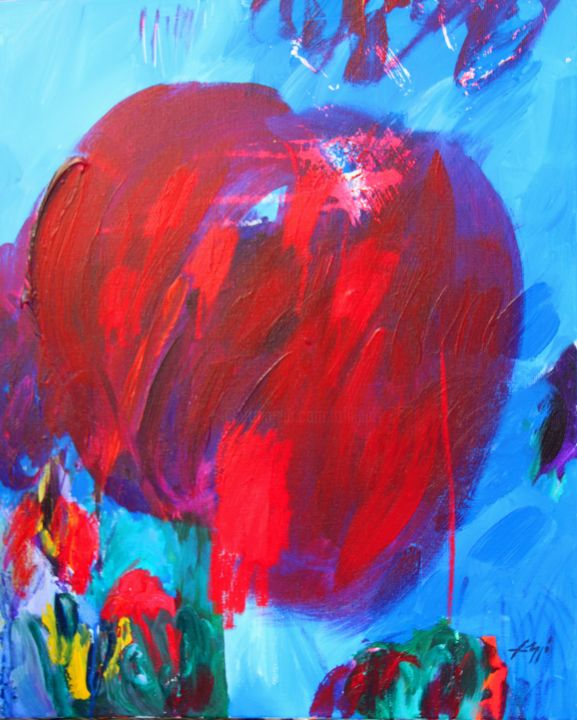 basgi-65-x55.jpg - Painting,  65x55 cm ©2014 by Bernard Filippi -                                                            Abstract Art, Canvas, Love / Romance, Baiser rouge coeur