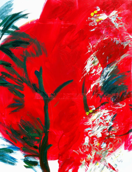 senza-te-116-x-89.jpg - Painting,  116x89 cm ©2014 by Bernard Filippi -                                                            Abstract Art, Canvas, Tree, Rouge caresse musique le soir