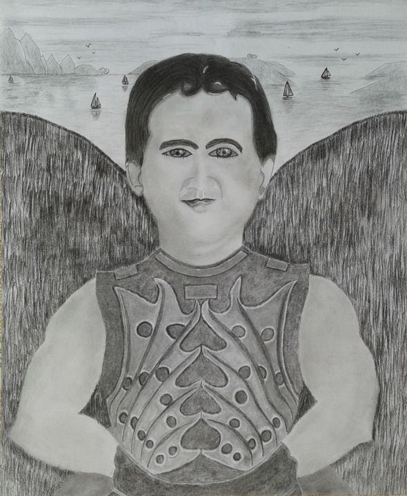 """Drawing titled """"Archangeli et in ma…"""" by Okafor Martin Nicholas, Original Art, Charcoal"""