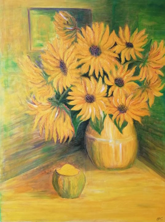 """Painting titled """"The sunflowers"""" by Olga Krivcun, Original Art, Oil"""