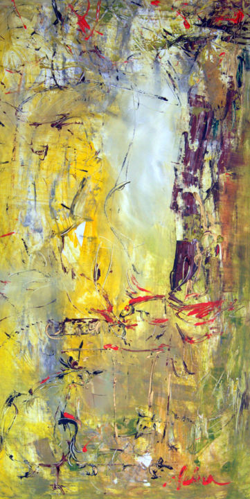 Model - Painting,  120x70x2 cm ©2018 by Oksana Veber -                                            Abstract Expressionism, Canvas, model, movement, stillness, freedom, nature