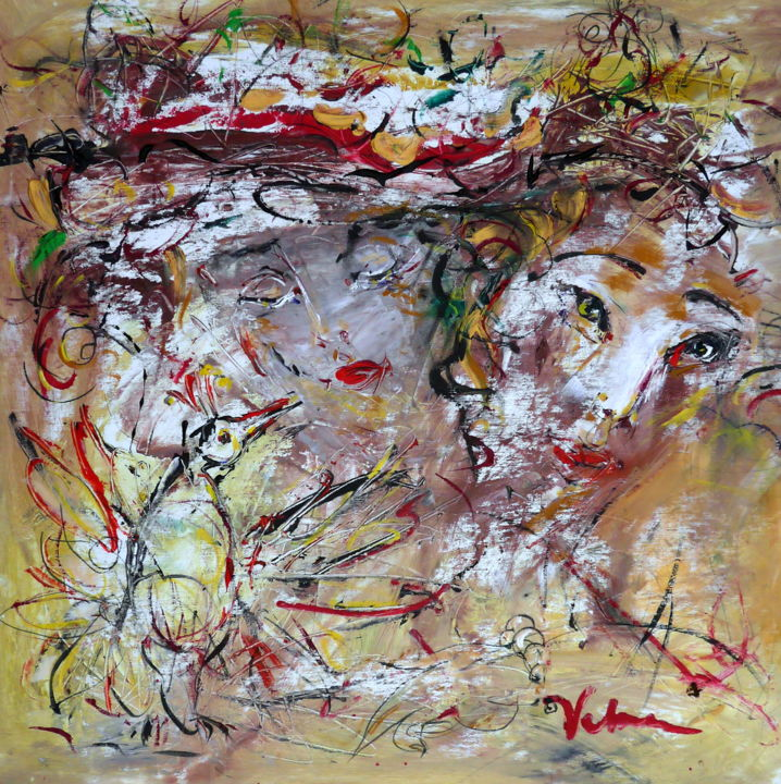Muse - Painting,  70x70x2 cm ©2018 by Oksana Veber -                                                            Abstract Expressionism, Canvas, Abstract Art, figurative, portrait, freedom, expression, love