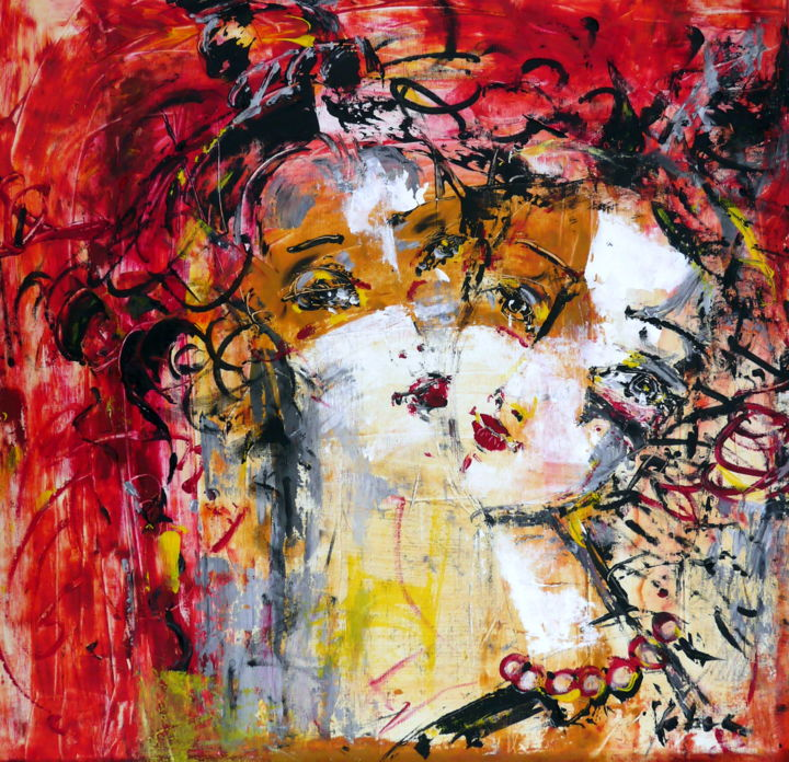 Soulmates - Painting,  70x70x2 cm ©2018 by Oksana Veber -                                                            Abstract Expressionism, Canvas, Abstract Art, portrait, friendship, love, music, dance