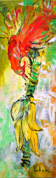Banana Eater - Painting,  100x35x2 cm ©2018 by Oksana Veber -                                                        Abstract Expressionism, Canvas, Abstract Art