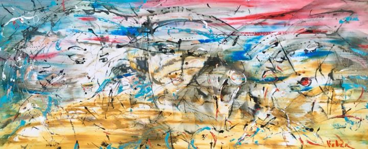 Three sisters - Painting,  70x190x2 cm ©2018 by Oksana Veber -                                                            Abstract Expressionism, Canvas, Abstract Art, oksana, veber, art, portrait, freedom, love