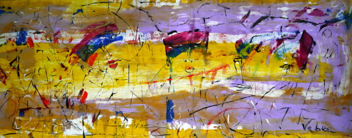Rainbow dream - Painting,  60x150x2 cm ©2018 by Oksana Veber -                                                            Abstract Expressionism, Canvas, Abstract Art, rainbow, faces, abstract, expression, freedom