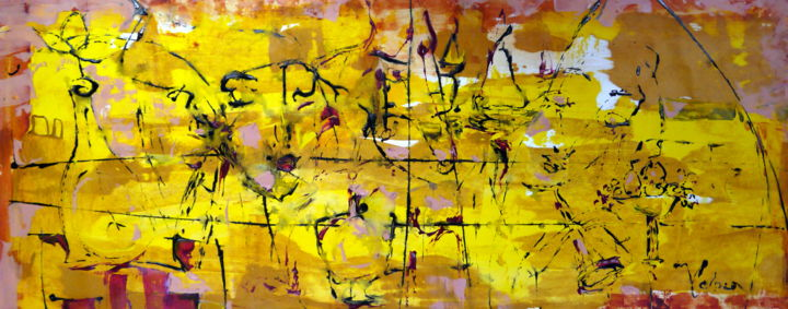 Shimmering dust - Painting,  60x150x2 cm ©2018 by Oksana Veber -                                                            Abstract Expressionism, Canvas, Abstract Art, abstract, freedom, expression, ancient glass, faces