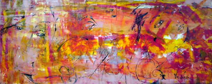Magic flow - Painting,  60x150x2 cm ©2018 by Oksana Veber -                                                        Abstract Expressionism, Canvas, Abstract Art