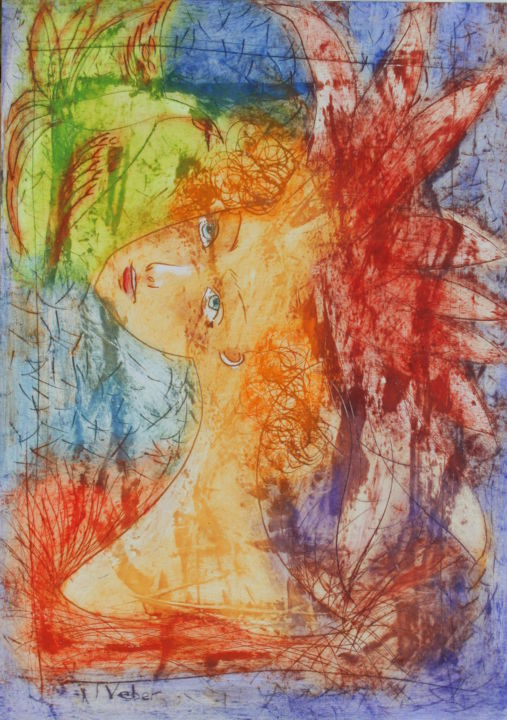 Look into the sky - Painting,  70x50x1 cm ©2018 by Oksana Veber -                                                                        Abstract Expressionism, Paper, Abstract Art, Portraits, crown, woman, birds, sky, nature