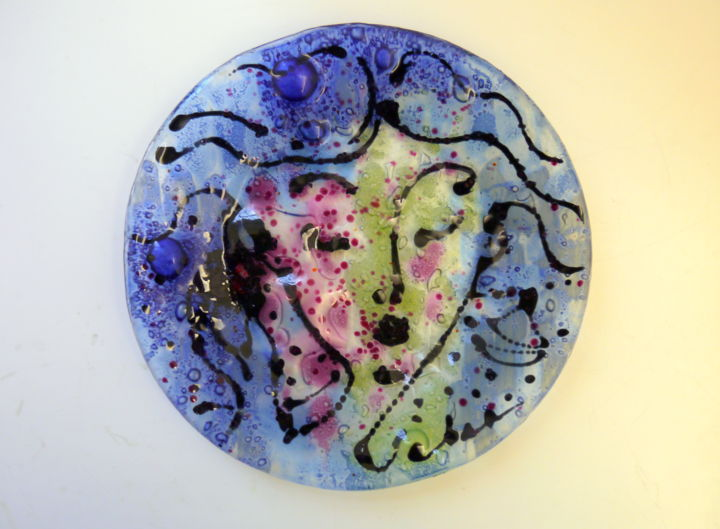 Fusion glass plate - Painting, ©2019 by Oksana Veber -
