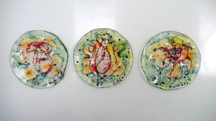 Rose plates- 3 peaces - Painting, ©2019 by Oksana Veber -