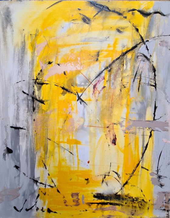 Light reflection - Painting,  23.6x19.7x0.8 in, ©2020 by Oksana Veber -                                                                                                                                                                                                                                                                                                                                                                                                                                                                                                                                                                                          Abstract, abstract-570, Abstract Art, veber oksana, painting, oil, acrylic, portrait, abstract, yellow, silver, monochrom