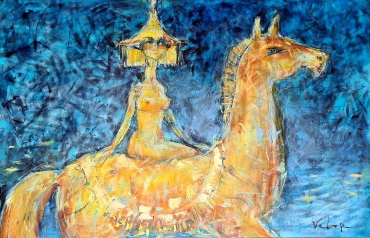 Night horse ride - Painting,  39.4x63x0.8 in, ©2020 by Oksana Veber -                                                                                                                                                                                                                                                                                                                                                                                                                                                                                                                                                                                                                                                                                                                              Abstract, abstract-570, Abstract Art, horse, ride, night, blue, woman, godiva, freedom, expression, oil, canvas, oksana, veber