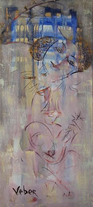 Melody of a sunset - Painting,  39.4x19.7x0.4 in, ©2004 by Oksana Veber -                                                                                                                                                                                                                                                                                                                                                                                                                                                                                                                                                                                                                                                                                                                                                                                                                                                                                                                                                                                                                                              Expressionism, expressionism-591, Still Life, portrait, fashion, morning, tea, apple, fantasy, mask, women, flowers, love, Prague, Veber, oil on canvas, figurative, Russian art, fish, clock, wildlife, nature