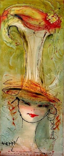 Puzzel - Painting,  39.4x16.1 in, ©2005 by Oksana Veber -                                                                                                                                                                                                                                                                                                                                                                                                          Abstract, abstract-570, Abstract Art, portrait, oksana, veber, female, hat