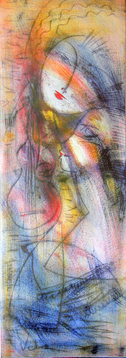 Musical encounters - Painting,  39.4x13.8x0.4 in, ©2006 by Oksana Veber -                                                                                                                                                                                                                                                                                                                  Abstract, abstract-570, Abstract Art, portrait, oksana, veber