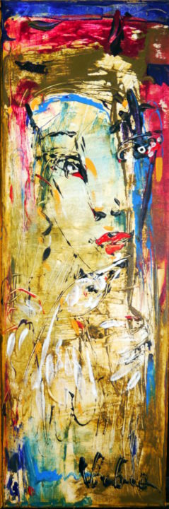 Portrait - Painting,  60x2x20 cm ©2015 by Oksana Veber -                                                            Abstract Expressionism, Canvas, Abstract Art, portrait, woman, flower