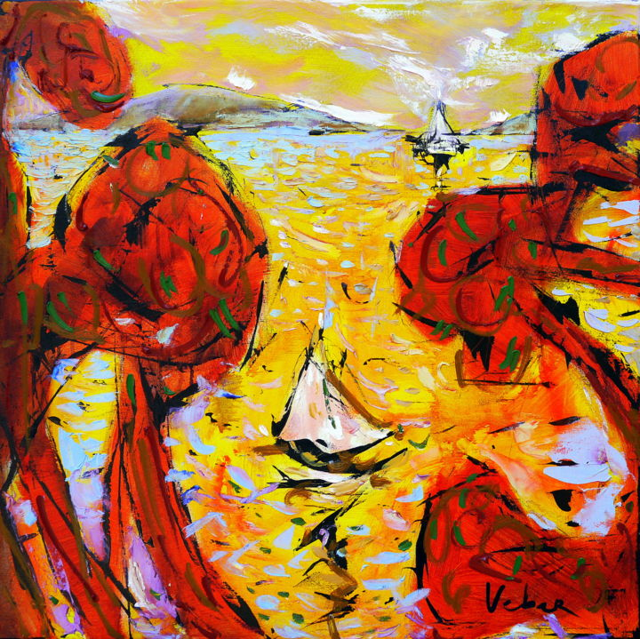 Terrace view - Painting,  70x2x70 cm ©2015 by Oksana Veber -                                                            Abstract Expressionism, Canvas, Abstract Art, sea, boats, sailing, sails, yaht, trees, beach, adriatic, love, sun, freedom