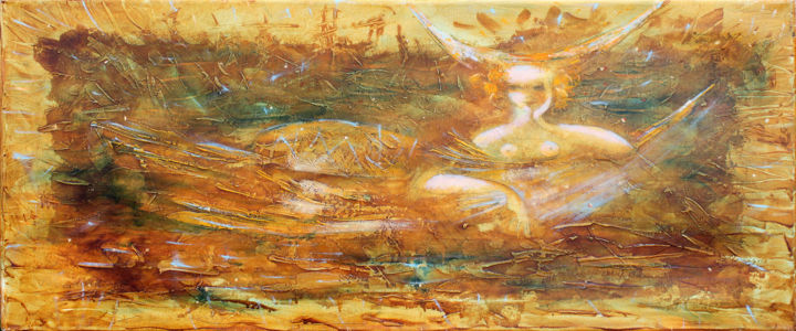 Mermaid - Painting,  13.8x32.7x0.8 in, ©2003 by Oksana Veber -                                                                                                                                                                                                                                                                                                                                                                                                                                                                                                  Abstract, abstract-570, Abstract Art, Seascape, sea, woman, fantasy, fish, mermaid, love
