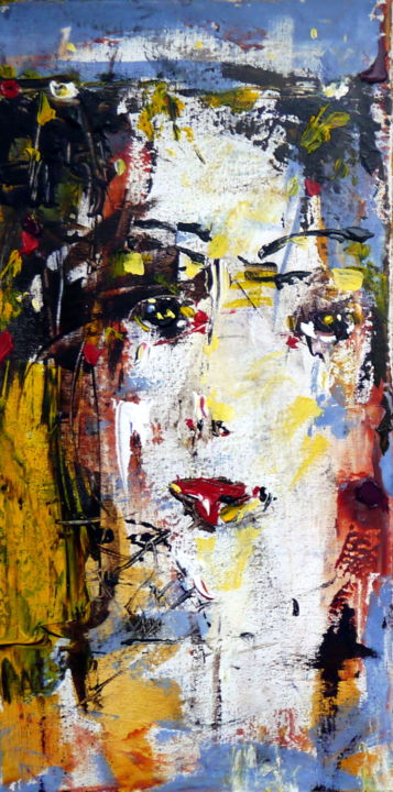 Dawn - Painting,  50x25x2 cm ©2016 by Oksana Veber -                                                            Abstract Expressionism, Canvas, Abstract Art, woman, freedom, silence, meditation, fantasy