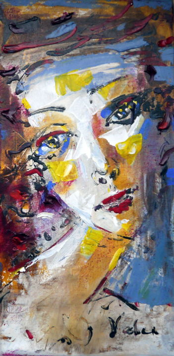 Pensive mode - Painting,  50x25x2 cm ©2016 by Oksana Veber -                                                            Abstract Expressionism, Canvas, Abstract Art, woman, portrait, love, meditation, freedom, fantasy