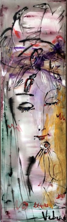 Found - Painting,  100x30x2 cm ©2016 by Oksana Veber -                                                            Abstract Expressionism, Canvas, Abstract Art, love, meditation, sea, woman, freedom