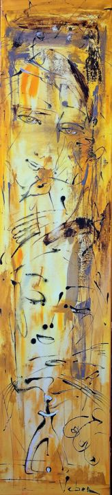 Dreams - Painting,  59.1x13.8x0.8 in, ©2016 by Oksana Veber -                                                                                                                                                                                                                                                                                                                                                                                                                                                      Abstract, abstract-570, Abstract Art, girl, mystery, meditation, freedom, love, music