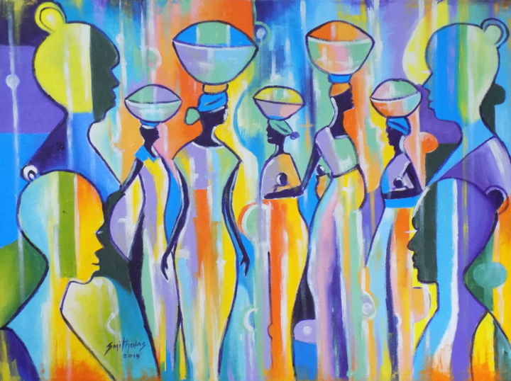 return-of-market-women-1.jpg - © 2019 colorful, abstract, beautiful, fine, lovely, painting, fineart, artdeco, women, attractive, today, orange, red, yellow, blue, female Online Artworks