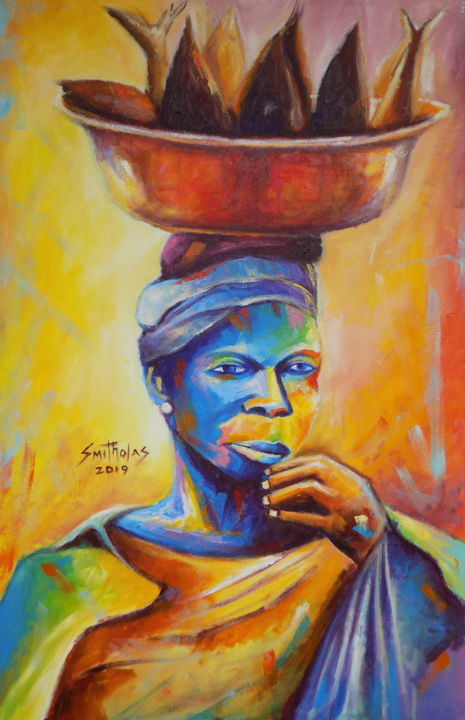 FISH  SELLER - Painting,  30x20x1 in, ©2019 by olaoluwa smith -                                                                                                                                                                                                                                                                                                                                                                                                                                                                                                                                                                                                                                                                                                                                                                                                                                                                                                                                                                                                                                                                                              Abstract, abstract-570, Abstract Art, Animals, Colors, People, World Culture, acrylic, art, painting, abstract, artdeco, interior, travel, safari, artworks, colorful, fine, fresh, attractive, Fresh, lovely, fineart