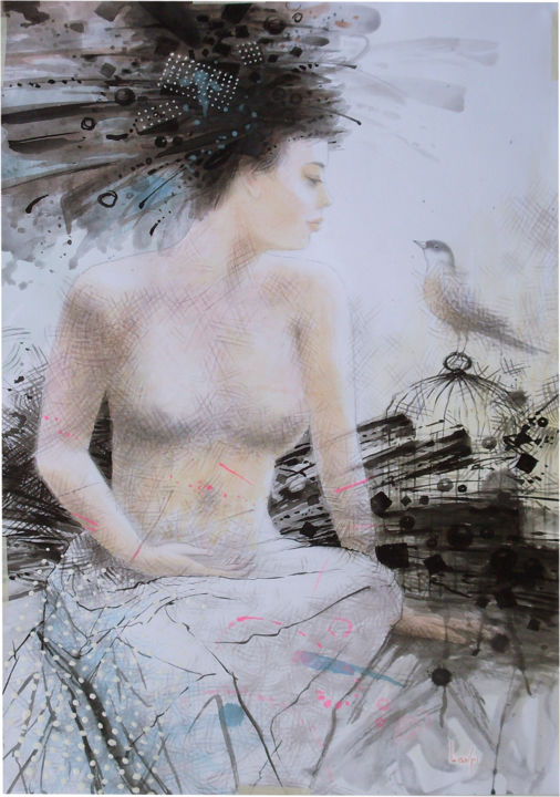 """Painting titled """"girl and bird"""" by Oleh Lavrii, Original Art, Ink"""