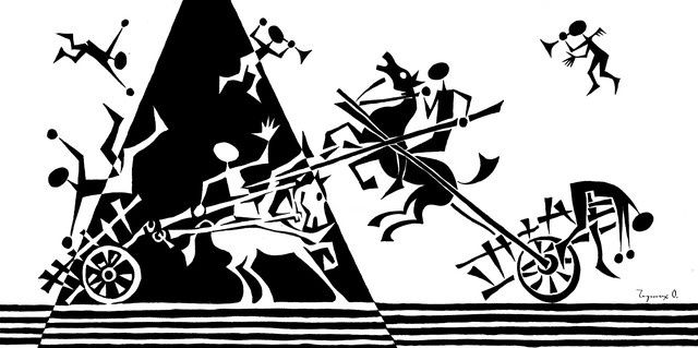 """Drawing titled """"Fight. 2010. Ink, p…"""" by Oleg Chernykh, Original Art, Other"""
