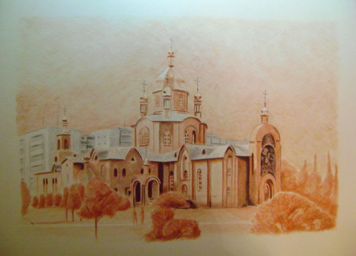 Christo-Christmas Cathedral of Severodonetsk - © 2017 Cathedral, drawing ballpoint pens, pen, pens, pensil, drawing, art, cityscape Online Artworks