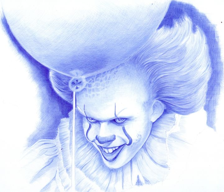 Bad Clowns Pennywise - © 2018 drawing, steven king, clown, dancing clown, bad clown, pen, ballpoint Online Artworks