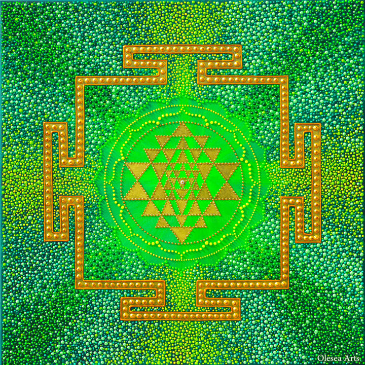 Sri Yantra Mantra Dot Painting Painting by Olesea Arts