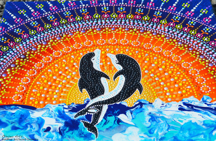 Dolphins Couple Dot Painting