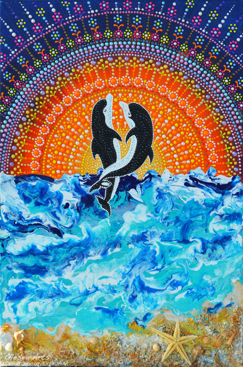 Dolphins Couple Dot Painting Dolphinity Healing Painting By