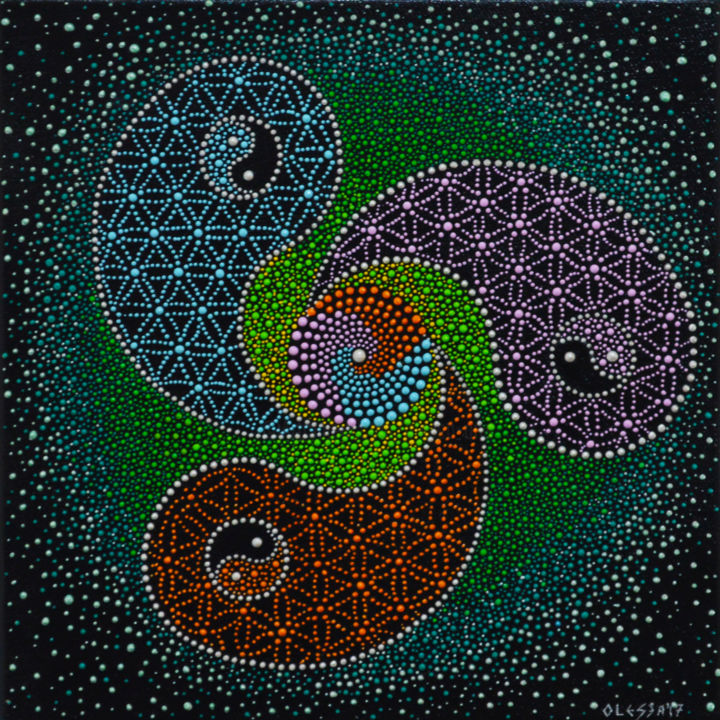 Body Mind And Spirit Dot Art Yin Yang Painting By Olesea Arts