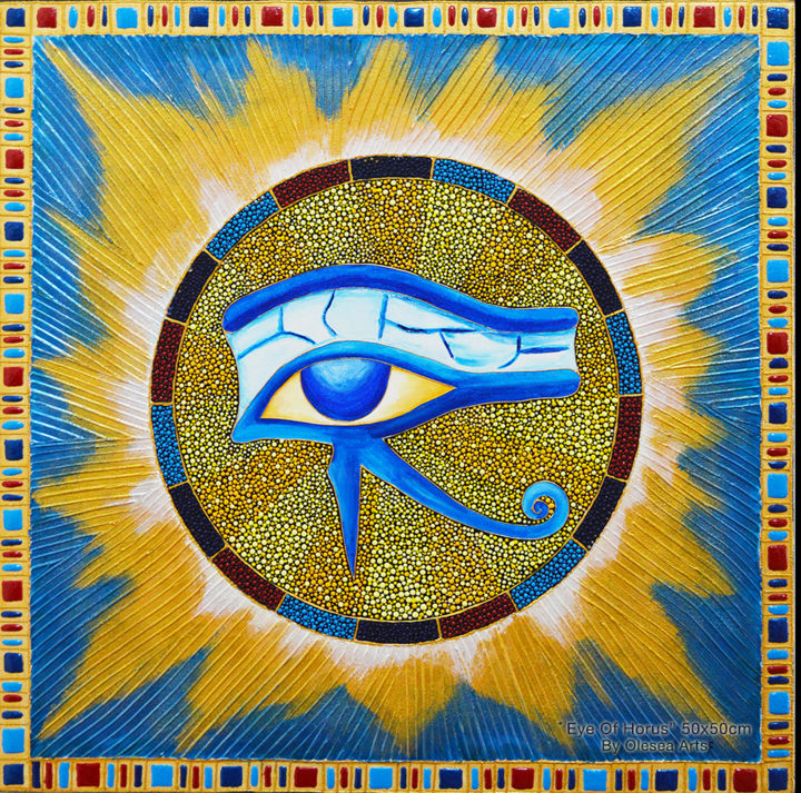 Eye Of Horus Dot Painting God Of Sun Ra Mandala Olesea Arts