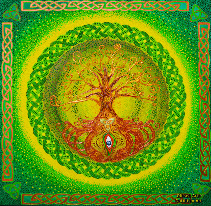 Tree Of Life Celtic Dot Mandala Painting By Olesea Arts Artmajeur