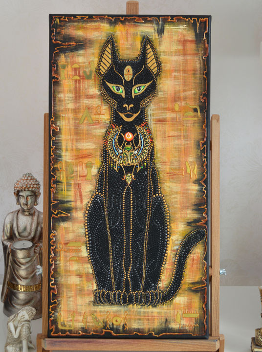 Egyptian Cat Goddess Bastet Dot Painting Olesea Arts