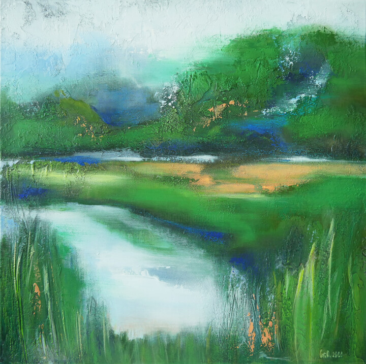 """Painting titled """"Green Valley"""" by Olesia Grygoruk, Original Art, Acrylic"""