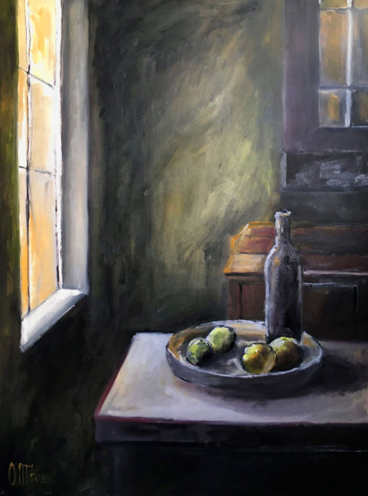 Green room - Painting,  31.5x23.6x0.8 in, ©2020 by Olesya Turukina -                                                                                                                                                                                                                                                                                                                                                                                                                                                                                                                                                                                                                                      Impressionism, impressionism-603, Interiors, table, large table, bowl of fruit, green interior, light from the window, bottle of wine, green room, kitchen, beautiful kitchen, chest